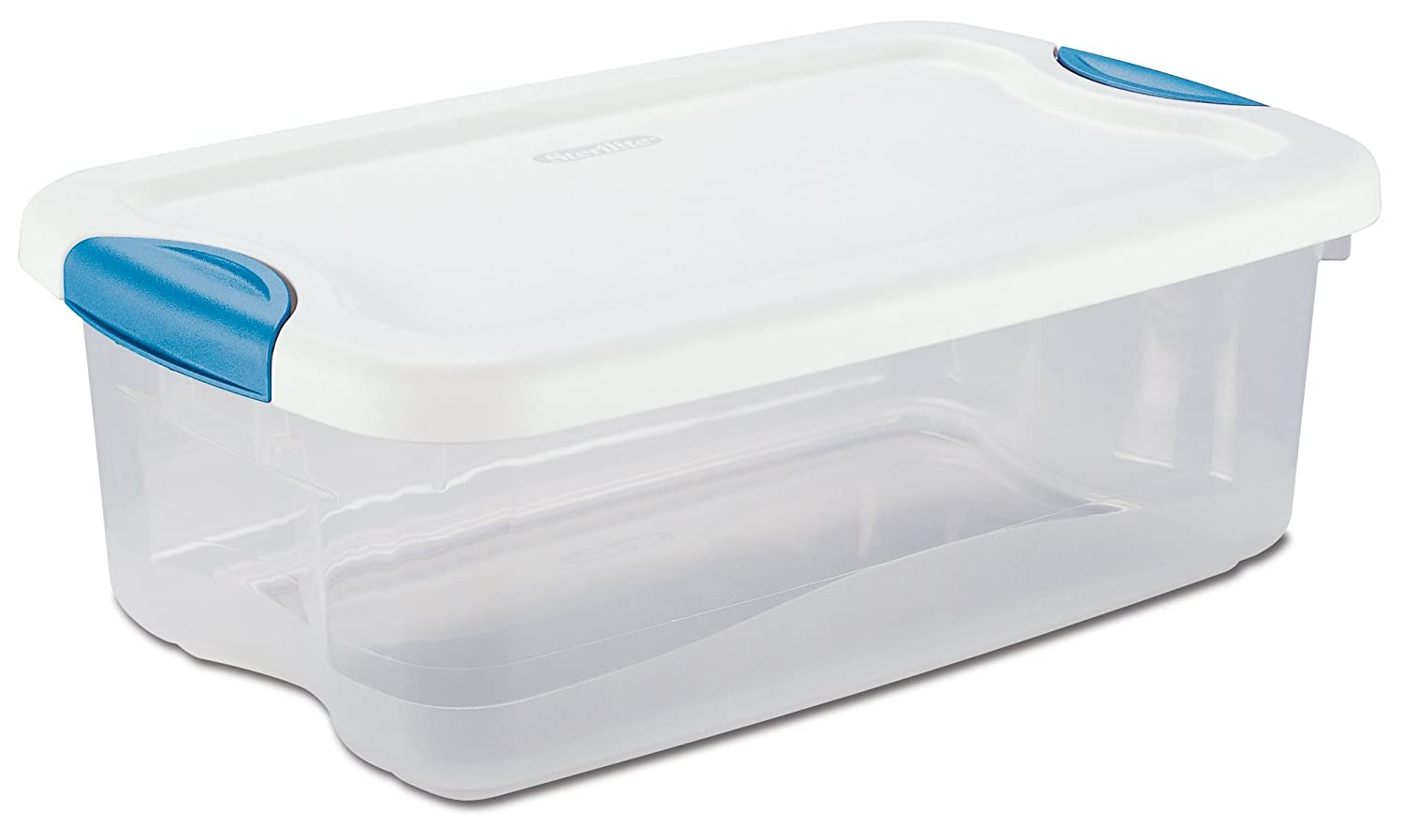 STERILITE 18828012 6-Quart See-Through Latch Box with White Lid and Peacock Latches