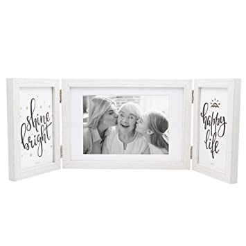 Afuly White Picture Frame 5x7 4x6 Hinged Folding Triple Photo Frames Desk Collage Three Opening Family Valentines Gifts