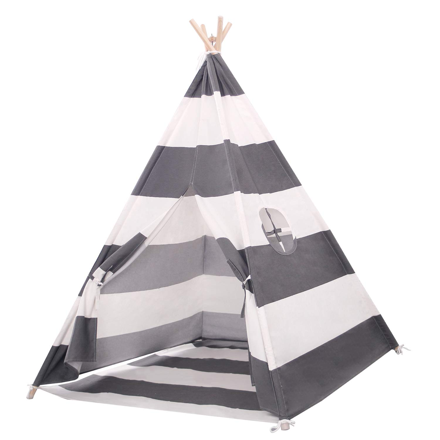 Scriptract Kids& Pets 6ft Teepee Tent Playhouse 100% Natural Cotton Canvas with Window & Carrying Bag ,Foldable Playhouse for Indoor & Outdoor(Grey&White Stripe) by scriptract
