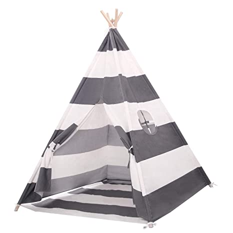 hot sale f0051 0be1c Scriptract Kids& Pets 6ft Teepee Tent Playhouse 100% Natural Cotton Canvas  with Window & Carrying Bag ,Foldable Playhouse for Indoor & ...