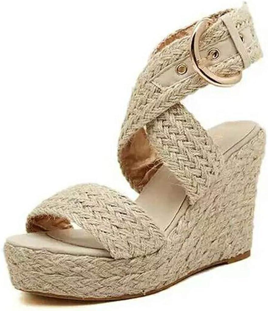 Sandalias Mujer Verano 2019 Zapatos de Plataforma Mujer Cuña Zapatos de Boca de Pescado Playa Zapatillas Sandalias de Punta Abierta Casual Fiesta Roman Tacones Altos Sandalias vpass