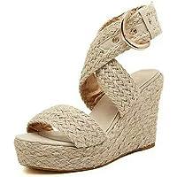 Fitfulvan Sandalias de cuña con Hebilla, Casuales, Zapatos Romanos, Zapatos Frescos, Sandalias de Plataforma Tejidas de Verano para Mujer, Beige, 38 M EU