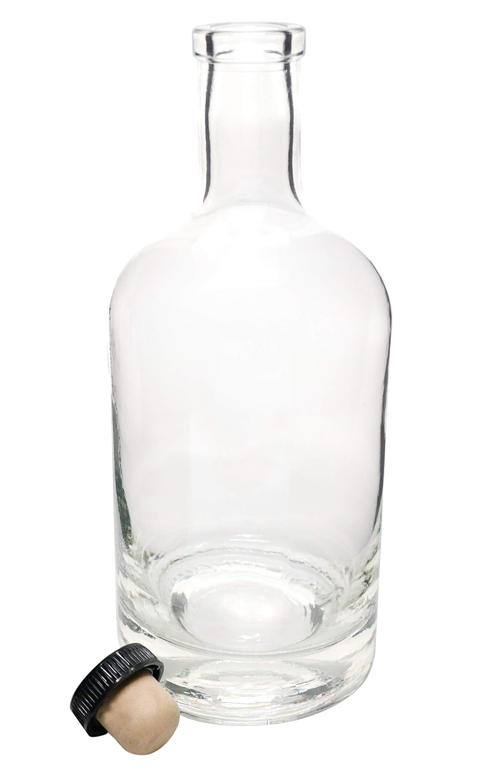 750ml Nordic Bottle with Synthetic Cork - Made in The USA - 100% Recyclable Glass - Food and Beverage Safe
