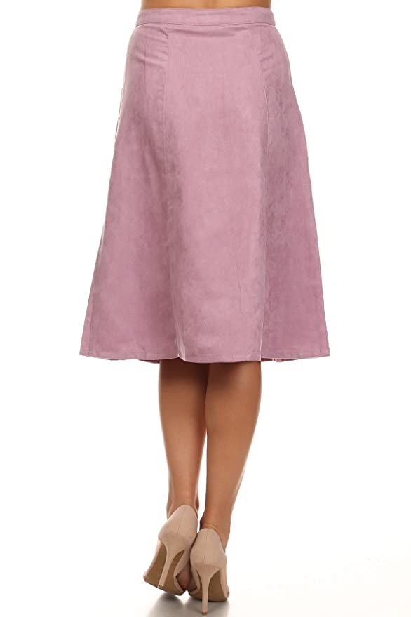 87a8ed0f8 Lilac - Purple Faux Suede A-Line Button Front Pocket Skirt at Amazon  Women's Clothing store: