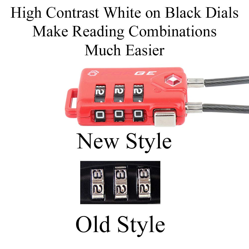 TSA Approved Cable Luggage Locks, Re-settable Combination with Alloy Body … (Red Two Pack) by Forge (Image #5)