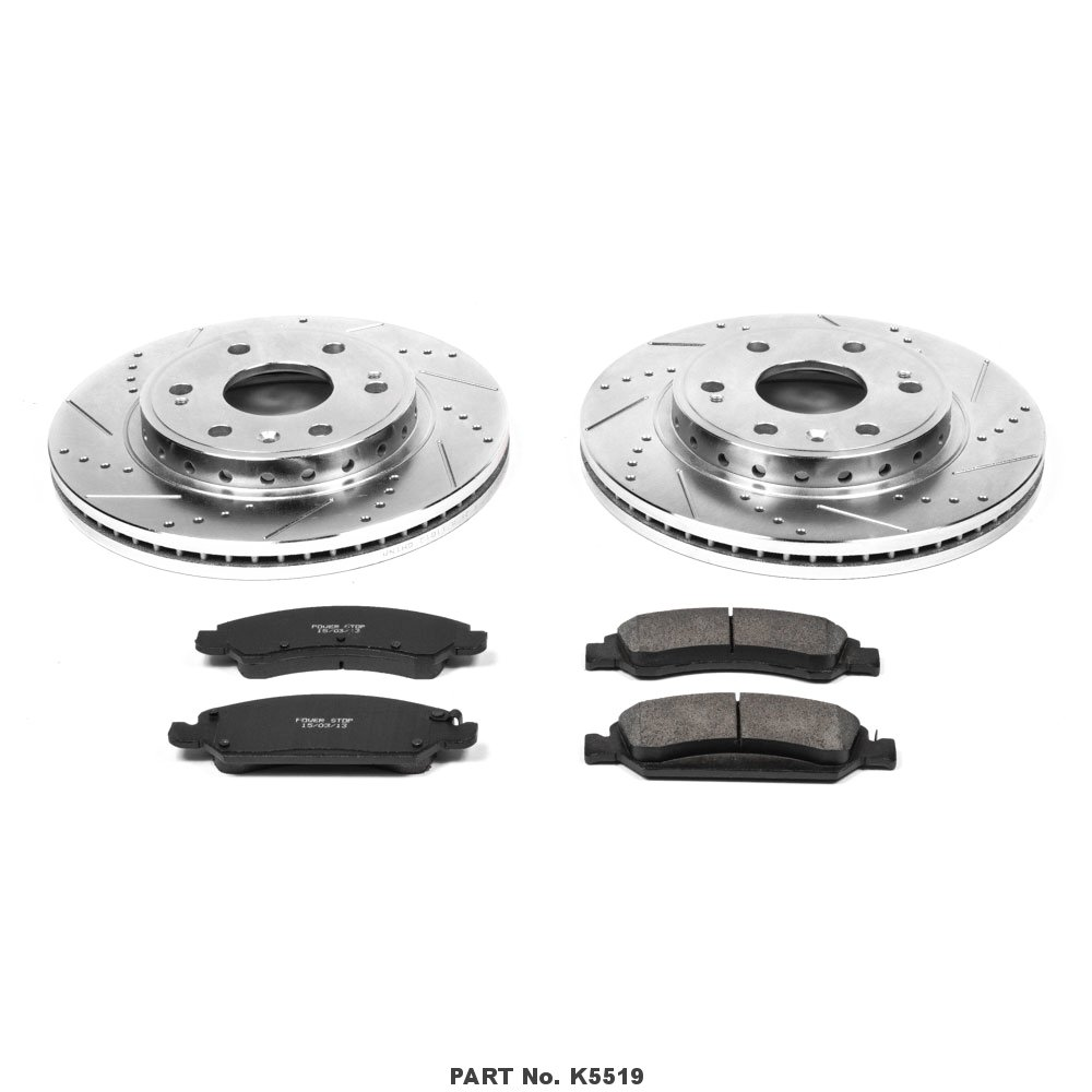 Power Stop K5519 Front Z23 Evolution Brake Kit with Drilled//Slotted Rotors and Ceramic Brake Pads
