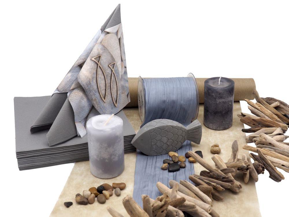 Tischdeko Kommunion Konfirmation Grau Taupe Fisch Beton Set 20 Personen