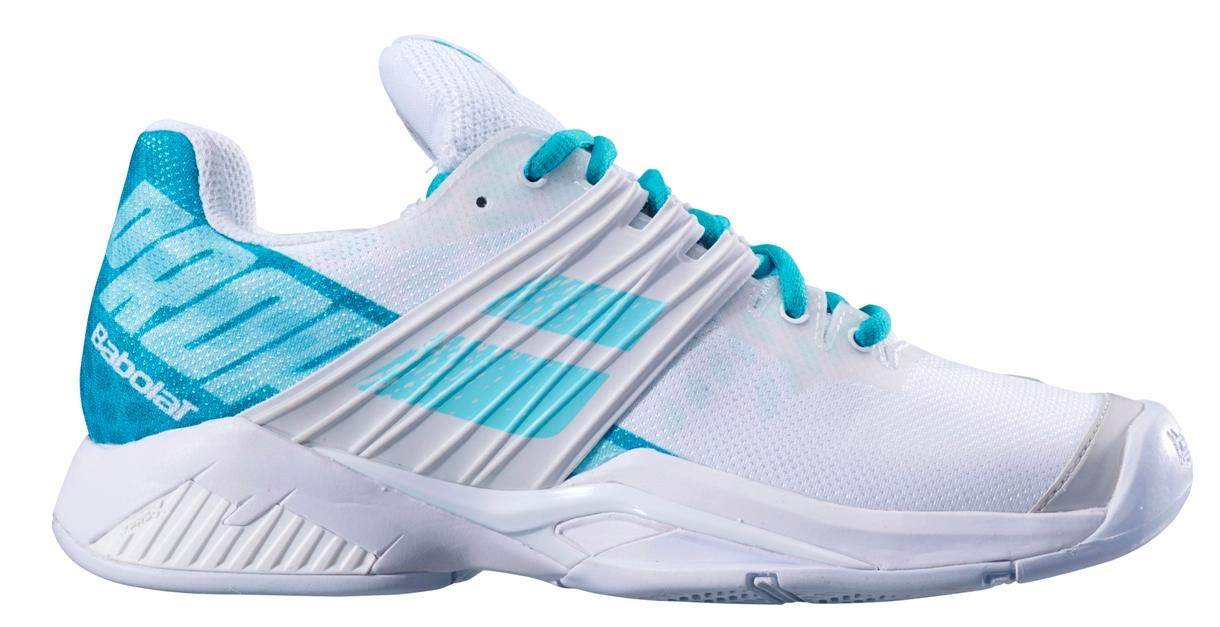 Babolat Women`s Propulse Fury All Court Tennis Shoes White and Mint Green (9) by Babolat