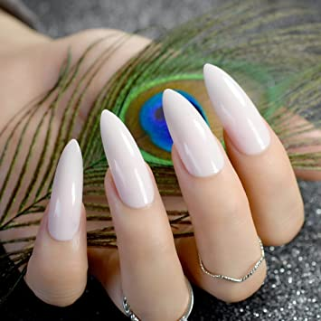 EchiQ Stilettos Sharp Nail Art Acrylic False Tip New Extra Long Nude Pink Pointed Natural