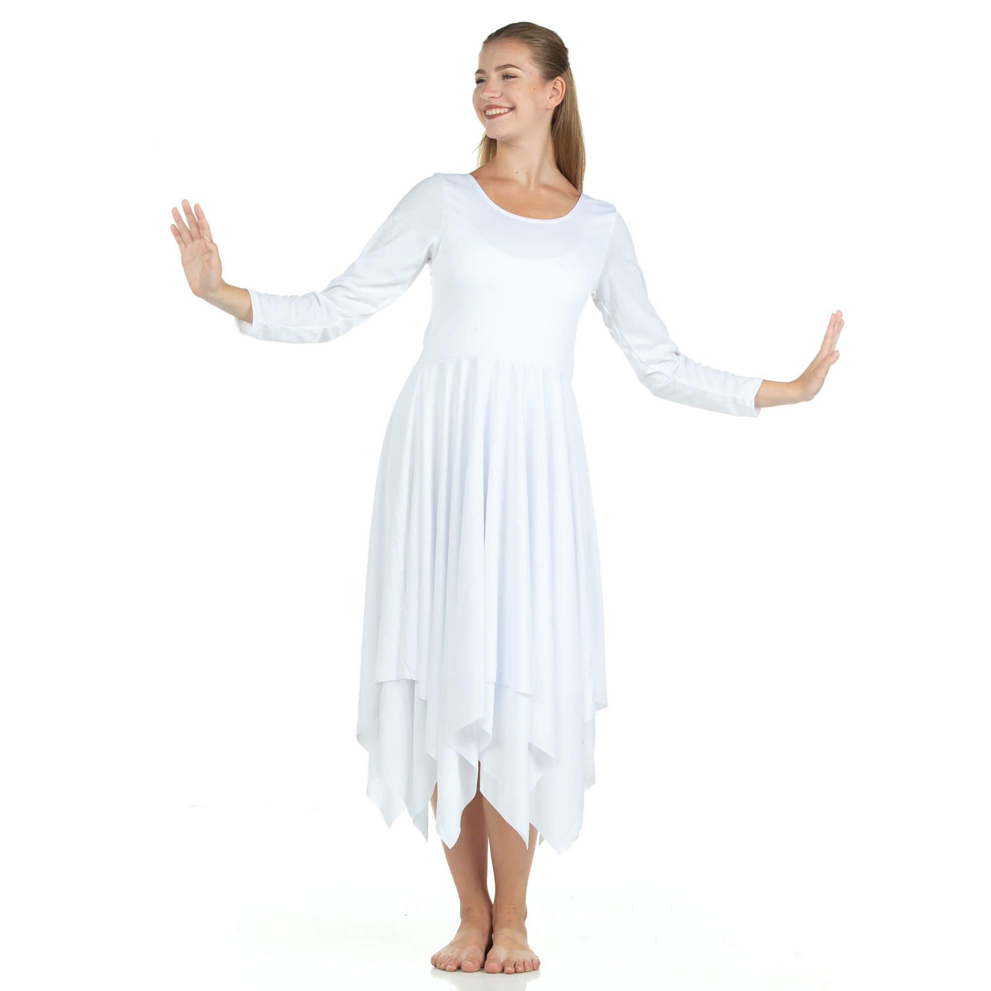 Danzcue Womens Celebration of Spirit Long Sleeve Dance Dress, White, L-XL by Danzcue