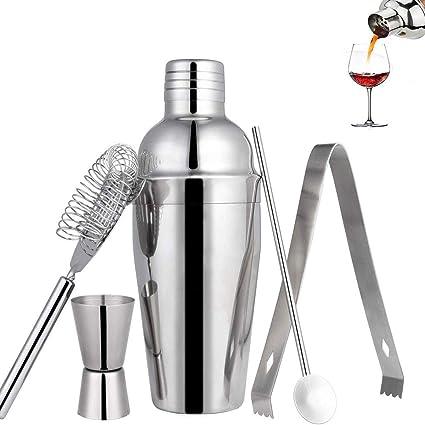 Lychee Coctelera Coctéles Juego, Set de 5 Piezas Cocktail Shaker de Acero Inoxidable Kit Profesional para Barman, Kit Premium de Barman para ...