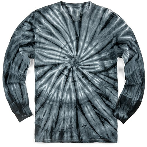 Magic River Long Sleeve Handcrafted Tie Dye T Shirts - Black Cyclone - Adult Large