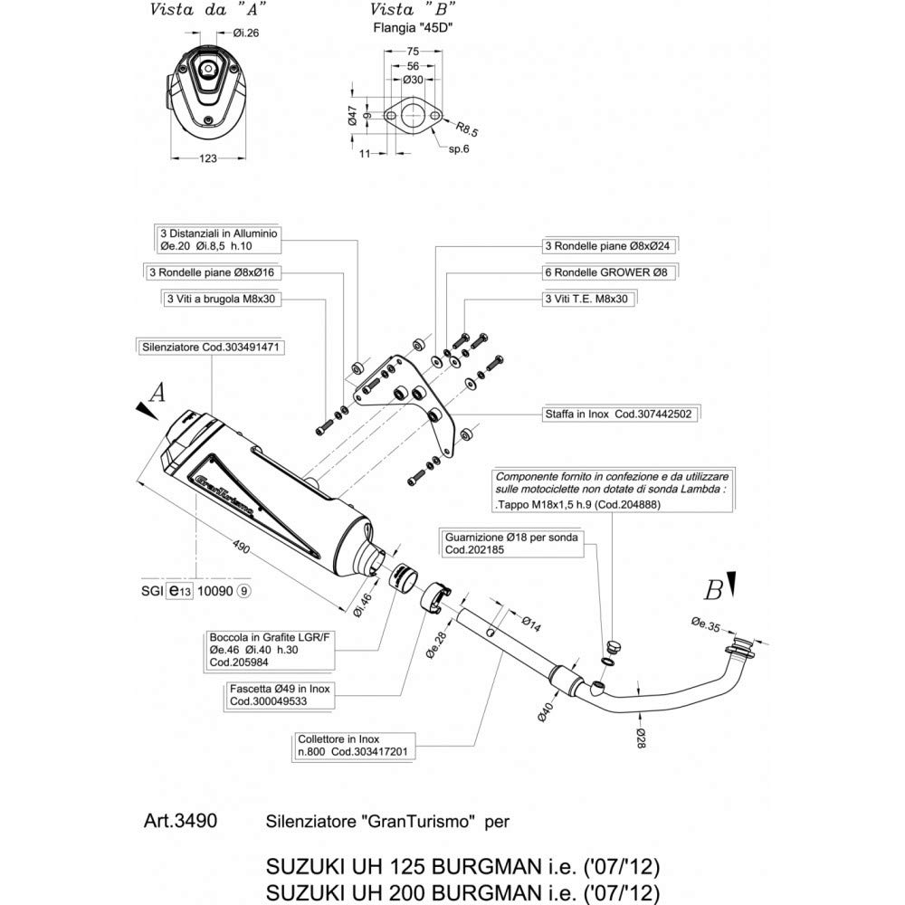 3490B Echappement Complete Leovince Granturismo Noir An 125 Burgman 2010  2013