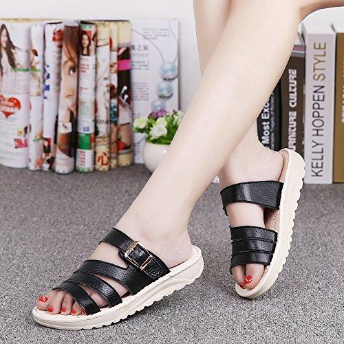 zapatillas casual AJUNR Transpirable pendiente Bizcocho Moda 35 y elegante Sandalias que la 37 Negro con 3cm nYYx1