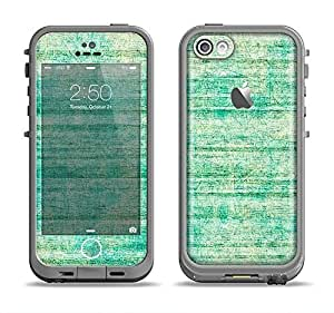 The Grungy Horizontal Green Lines Apple iPhone 5c LifeProof Fre Case Skin Set (Skin Only)