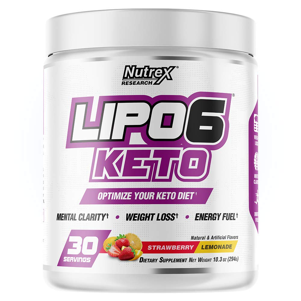 Nutrex Research Lipo-6 Keto | Keto Diet Support | Mental Clarity, Weight Loss, Energy Fuel, BHB Salts | 30 Servings (Strawberry Lemonade) by Nutrex Research