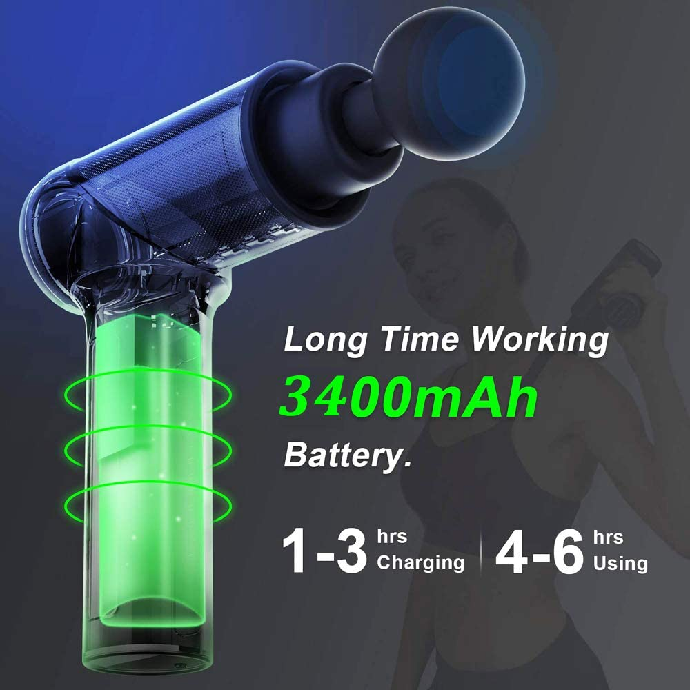 Massage Gun Deep Tissue Percussion Muscle Massager,Powerful Handheld Electric Sports Drill Pro Athletes Muscle Recovery,Portable Super Quiet