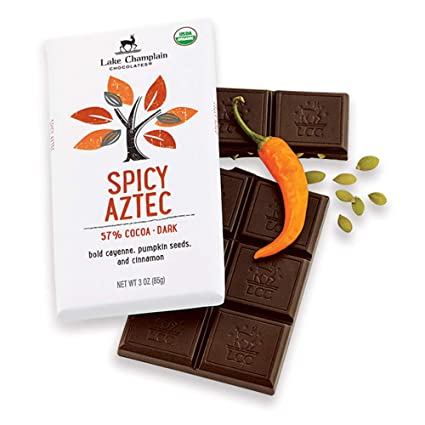 Lake Champlain Organic Dark Chocolate Spicy Aztec Candy Bar, 3 Ounces