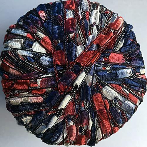Berlini Ladder Ribbon Maxi Yarn #92 Americana 50 Gram 98 Yards Red White Blue