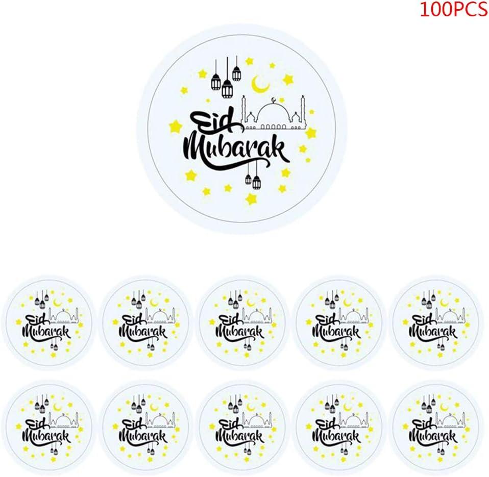 oukerst 100 Pcs//Set Eid Mubarak Autocollants D/écorations Cartes DIY Cupcakes Picks Lettre Motif Autocollant Festival Fournitures