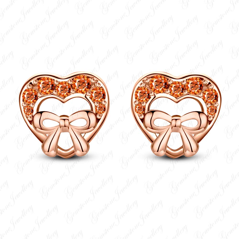 Gemstone Jewellery 925 Silver 14k Rose Gold Filled Round Sapphire Heart Minnie Mouse Stud Earrings