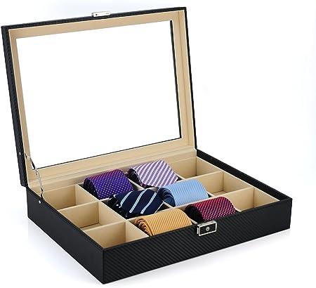 TIMELYBUYS - Caja de almacenamiento para 12 corbatas, cinturones y ...