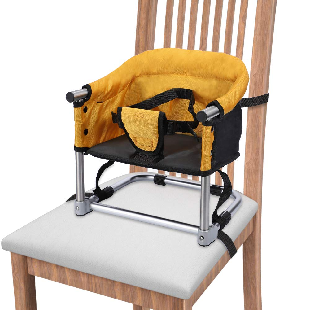 Portable Booster Seat Travel Feeding Seat, Baby Folding High Chair W Carrying Bag for Home Travel, Toddler Booster Chair Straps to Kitchen Dinner Table Yellow