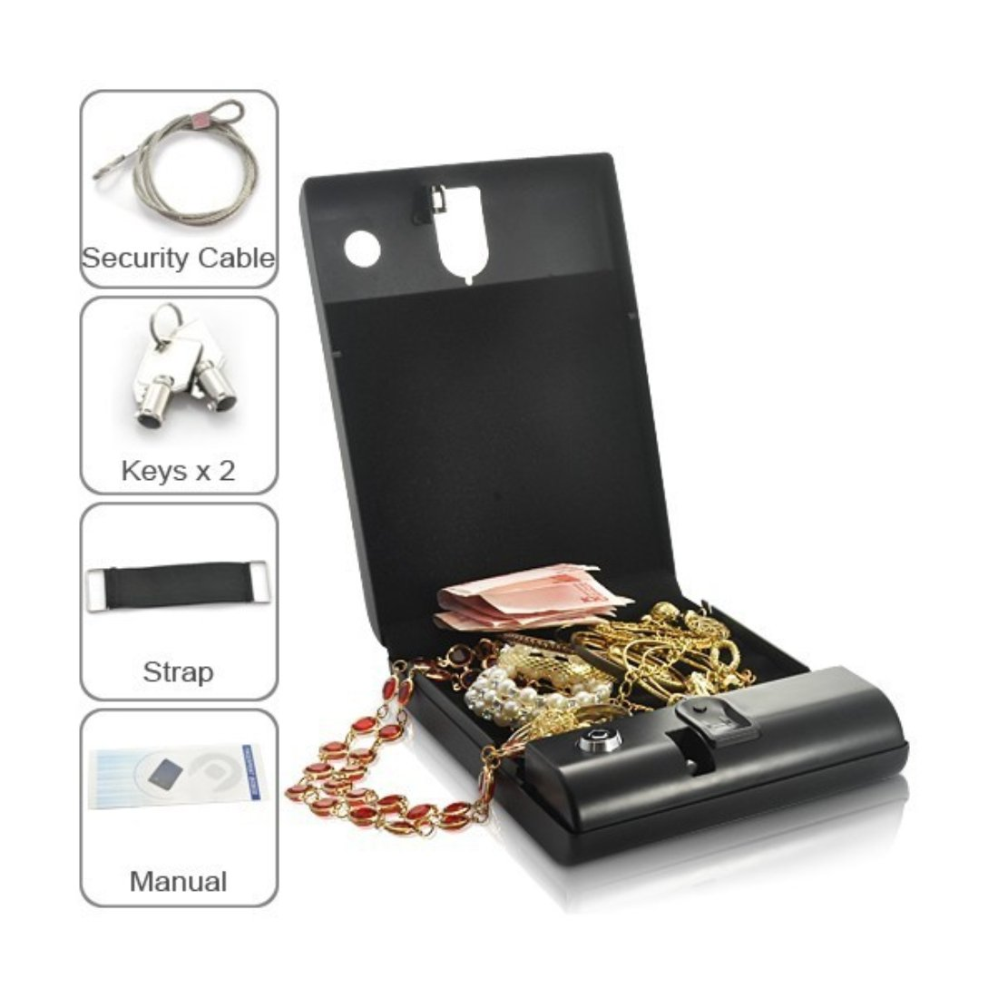 Portable Fingerprint security box Biometric Fingerprint Car Gun Safe Electronic Digital Fingerprint Scanner Safe Box for Pistol Gun Jewelry Money-Black