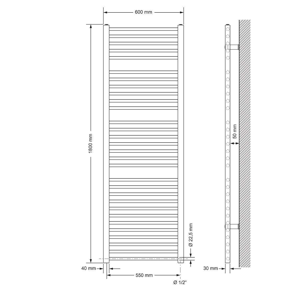 gerade mit Seitenanschluss Heizk/örper Handtuchw/ärmer Handtuchtrockner Wei/ß 400 x 1500 mm ECD Germany Badheizk/örper Elektrisch 1200W