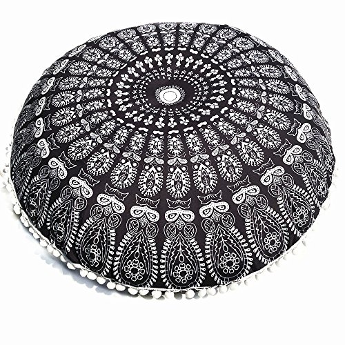 Gocheaper Home Decoration,Large Mandala Floor Pillows Round Bohemian Meditation Cushion Cover Ottoman Pouf 8080cm(G)