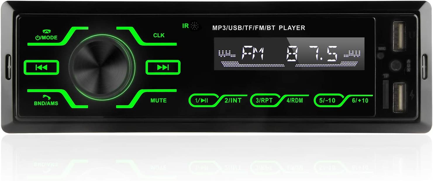 Single Din Car Stereo Receiver with Touch Screen, Car MP3 Multimedia Player USB/SD/AUX Input, Car Audio Bluetooth and Hands-Free Calling,FM Radio,Built-in Microphone,with Double USB Port