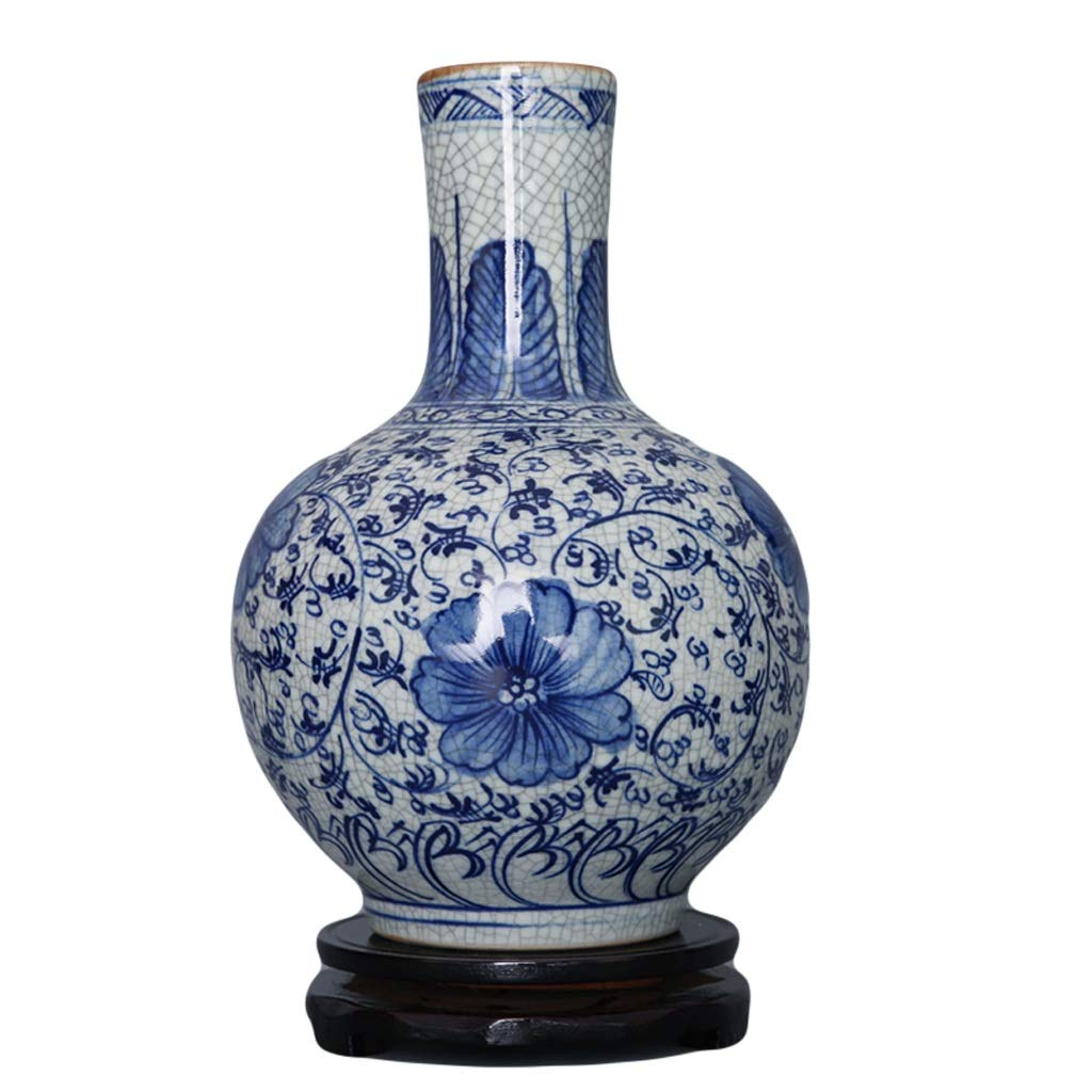 MAHONGQING 花瓶セラミック手描きアンティーク青と白の磁器のアイスクラック花瓶家の工芸品の装飾品(ベースを送る) (Size : M) B07S1TGKFN  Medium