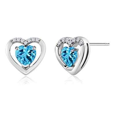 4c18c5892 Image Unavailable. Image not available for. Color: 10K White Gold 0.76 Ct  Swiss Blue Topaz and White Diamond Heart Shape Earrings