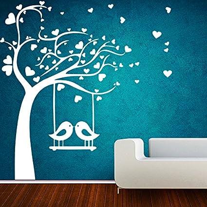 Decor kafe home decor birds swings on tree wall sticker wall sticker for bedroom