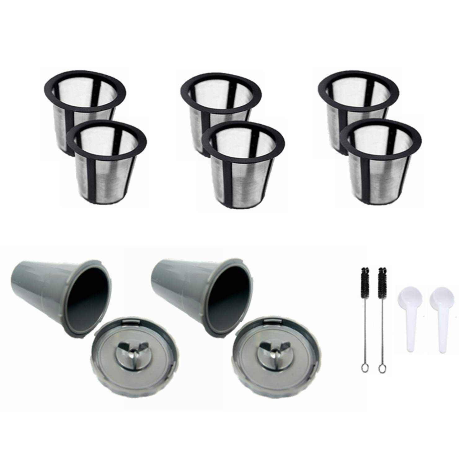 LIGICKY Pack Of 2 Reusable Coffee Filter Set for Keurig Brush for B30 B40 B50 B60 B70 Series Spoon 3 extra filters My K-cup Style Filter Housing