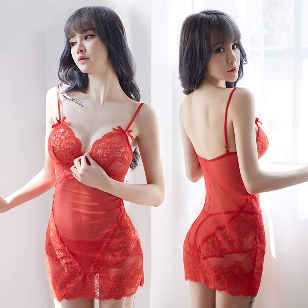 DLT Hot Lace Sexy Women Babydolls Bustier, Mujeres, Encaje Push Up Top Sujetador Chemise para Mujeres, Bustier, Transparente Halter Neck Satin Bow lencería Set (Color : Red, Tamaño : L) 32842c