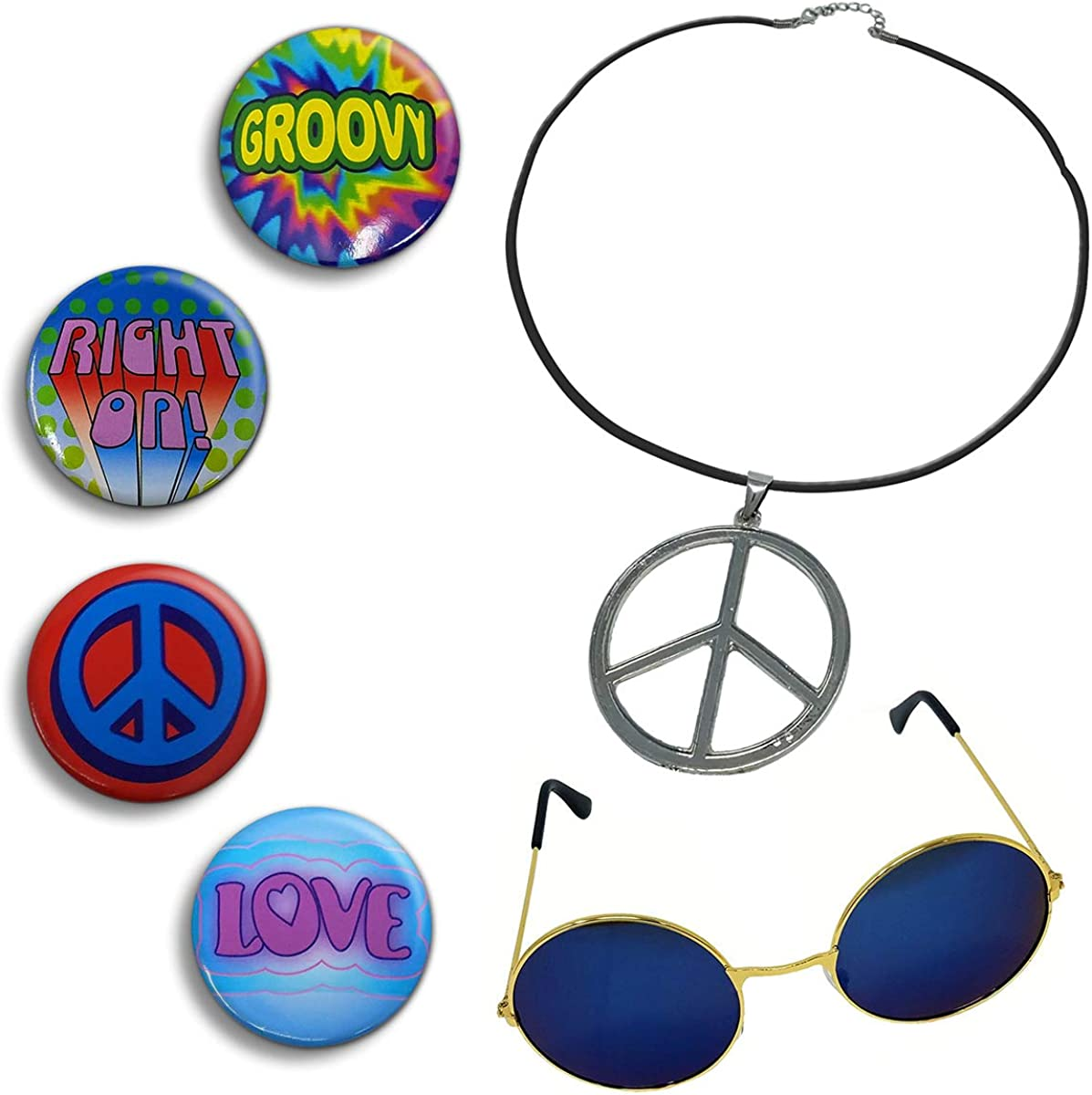 60s , 70s Hippie Clothes for Men NorNovelties Hippie Costume Accessories - Peace Sign Necklace 4 Buttons Groovy Glasses 6 Piece Set $9.95 AT vintagedancer.com