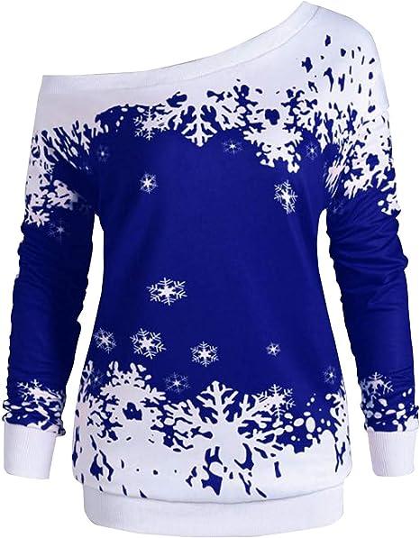 Siennaa Weihnachten Pullover Damen, Teenager Mädchen Weihnachtspulli Schulterfrei Schnee Druck Christmas Sweatshirt Xmas Pulli Weihnachtspullover