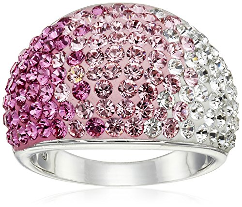 Sterling Silver Pink Faded Dome Swarovski Elements Ring, Size 6