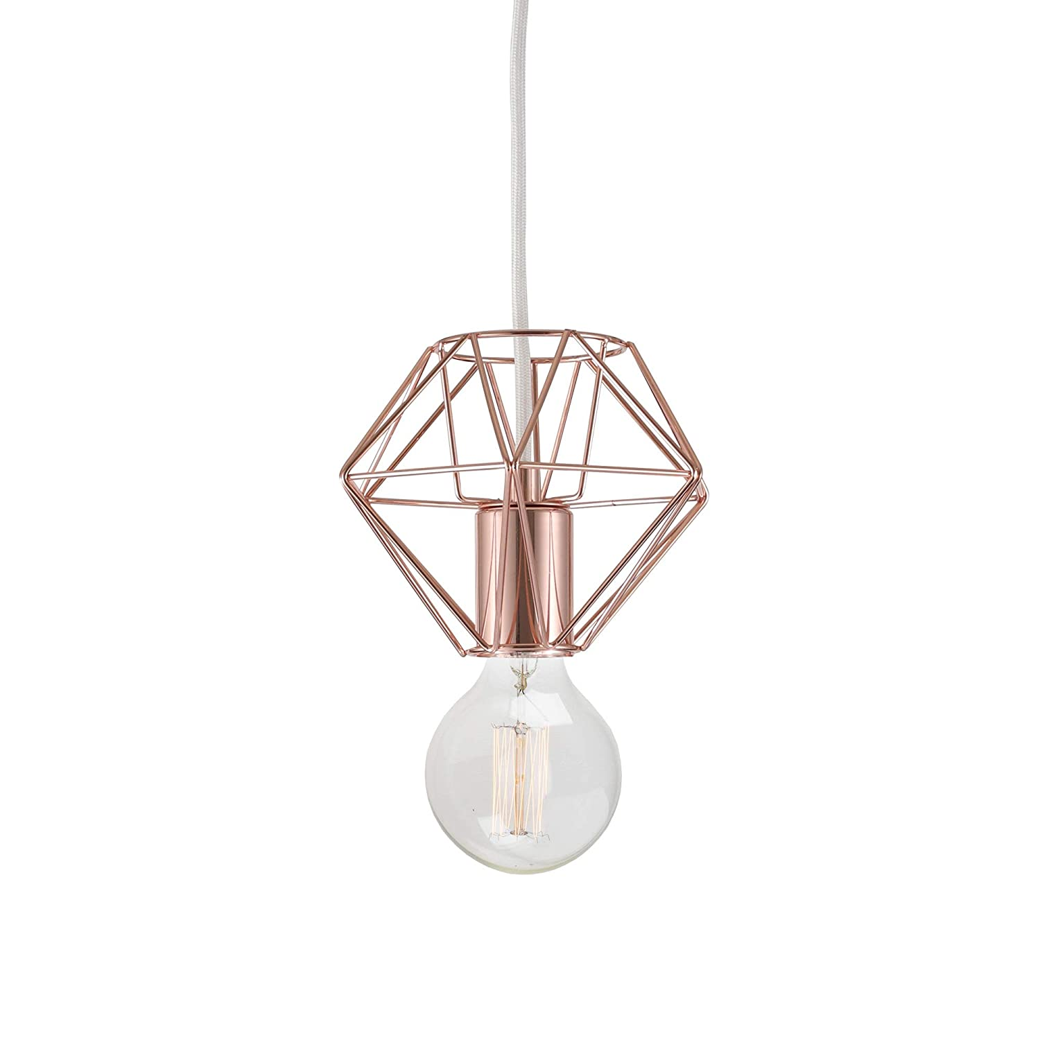 Hanging Modern Chandelier 16FT White Fabric Cord with in-Line Switch Rose Gold Finish Can Be Used as Table Lamp BRIGHTTIA Plug-in Swag Industrial Pendant Light with Diamond Wire Cage Shade