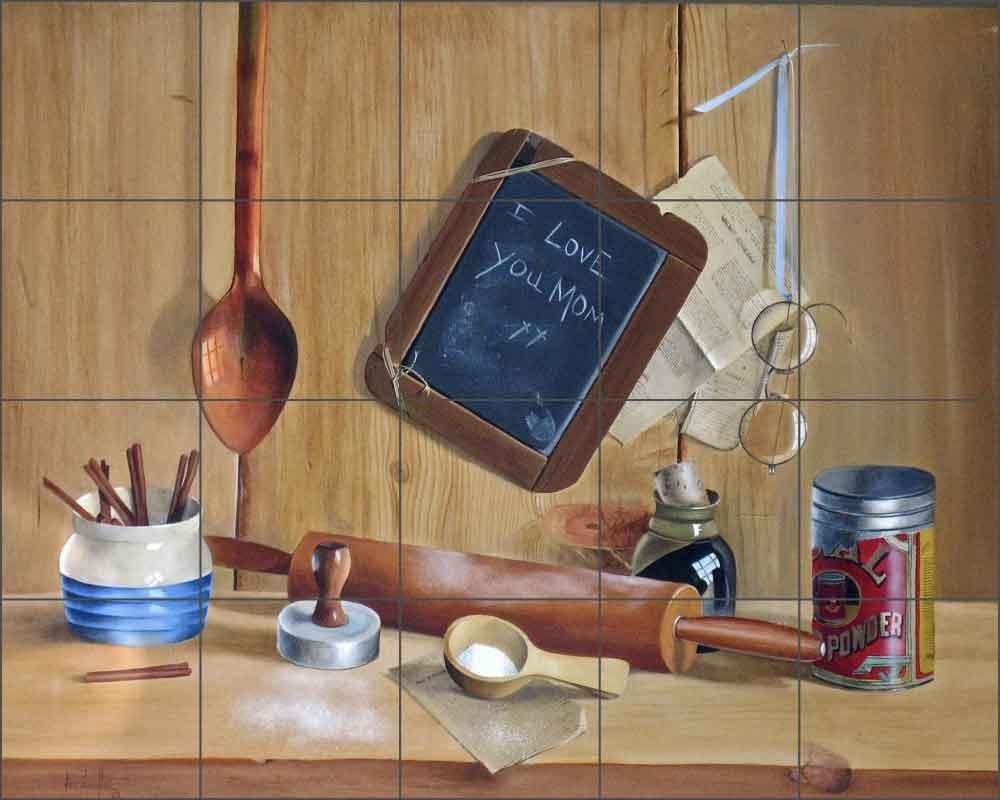 Artwork On Tile Ceramic Mural Backsplash Lil' Chef by Verdayle Forget - Kitchen Shower Wall (30'' x 24'' - 6'' tiles)