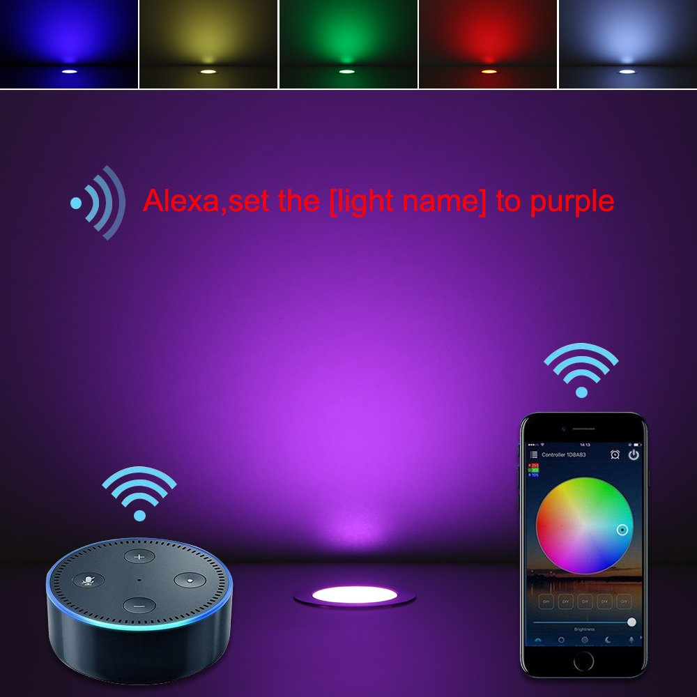 FVTLED 10pcs /Φ1.18 WiFi Wireless Smart Phone Control Low Voltage LED Deck Light Waterproof Outdoor Decor Recessed RGB Lamps Compatible with Alexa Google Home LED Step Lighting Kits