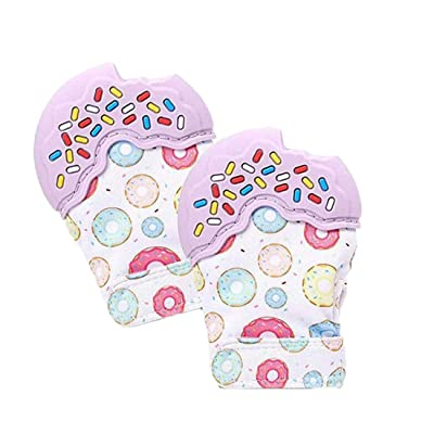 KECOP Teething Mitten Set of 2-Self Smoothing Pain Relif Gloves for Boys Or Girls,Sensory Stimulating Silicone Teether Mitten with Present Box,Adjustable Strap Stays On Infant Hands Packs (Pink): Toys & Games