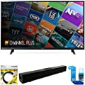"""LG 55"""" Class (54.6"""" Diag) 4K UHD HDR Smart LED TV 2018 Model (55UJ6200) with Xtreme Solo X3 Bluetooth Home Theater Sound Bar, 6ft High Speed HDMI Cable Black & Screen Cleaner for TVs"""