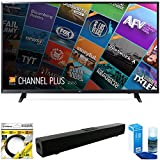 LG 55' Class (54.6' Diag) 4K UHD HDR Smart LED TV 2018 Model (55UJ6200) with Xtreme Solo X3 Bluetooth Home Theater Sound Bar, 6ft High Speed HDMI Cable Black & Screen Cleaner for TVs