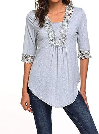 Camisa Cuello Blusa de túnica Mujer, para Mujer Casual Media Manga Tops O Cuello Camiseta Blusas Túnica Blusa Camisas: Amazon.es: Ropa y accesorios