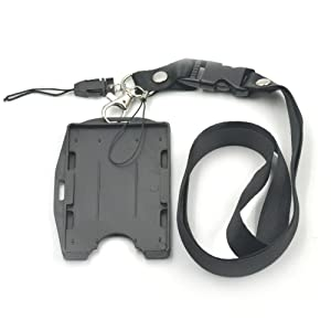 5 Sets Black lanyard + ID Card Badge Holder 2 in 1 Vertical horizontal Hard for Multi Reel Retractable Lanyard