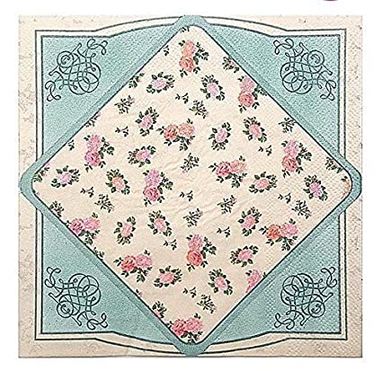 wallye vintage floral paper napkins decorative for tea party wedding or birthday 20 pack