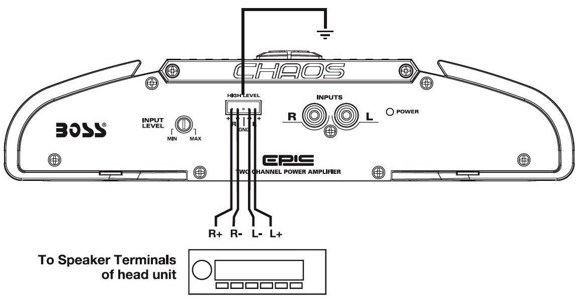 amazon com boss audio mr202 chaos epic 200 watts full range class a rh amazon com amplifier high level input wiring subwoofer high level input wiring