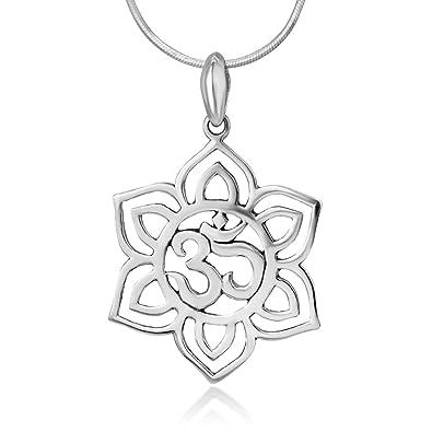 Amazon chuvora 925 sterling silver blooming lotus flower om aum chuvora 925 sterling silver blooming lotus flower om aum ohm sanskrit symbol pendant necklace 18quot mightylinksfo